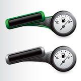 De maat van het gas op groene en grijze overgehelde banners Stock Afbeeldingen