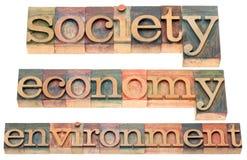 De maatschappij, economie, milieu Stock Foto's