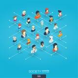 De maatschappij integreerde 3d Webpictogrammen Digitaal netwerk isometrisch concept Stock Afbeelding
