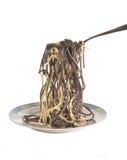 De macaroni hangt op een vork Stock Foto