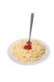 De macaronideegwaren van de spaghetti met sausketchup Stock Foto