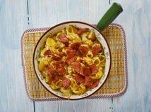 De Macaronikaas van de Andouilleworst stock foto's