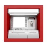De machine van ATM die op wit wordt geïsoleerdl Stock Afbeeldingen