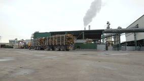 De machine, de vrachtwagen of de aanhangwagen leveren timmerhout, logboeken, hout, hout aan houtbewerkingsinstallatie of fabriek  stock footage