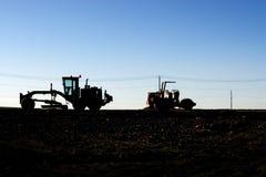 De machines van de bouw op een horzion Stock Fotografie