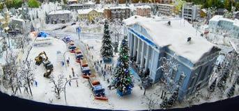 De machines van de sneeuwontruiming in Kerstmis Royalty-vrije Stock Afbeelding