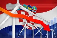 De macht die van de de windenergie van Kroatië grafiek, pijl verlagen - moderne natuurlijke energie industriële illustratie 3D Il stock illustratie
