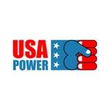De Macht van de V.S. Het embleem van de patriotvuist Teken van sterk Amerika Embleem voor Royalty-vrije Stock Afbeelding