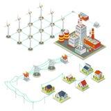 De macht van de Windmilturbine 3D isometrisch schone energieconcept Stock Fotografie