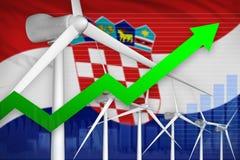 De macht van de de windenergie van Kroatië het toenemen grafiek, pijl omhoog - milieu natuurlijke energie industriële illustratie stock illustratie
