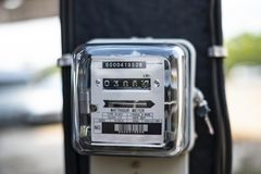 De machtshulpmiddel van de kilowatt-uur elektrisch meter stock afbeeldingen
