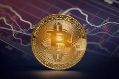 De macro glanzende bitcoin en handelgrafiek van marktgegevens virtuele crypt Stock Afbeelding