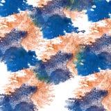 De macro Oranje, donkerblauwe textuur van de vlekvlek op een wit Stock Foto's