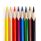 De macro van acht kleurenpotloden Stock Afbeelding