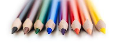 De macro van acht kleurenpotloden Stock Foto's