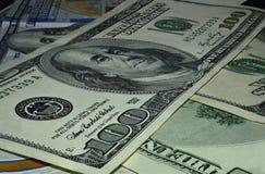 De macro van de honderd dollarbenaming royalty-vrije stock afbeelding