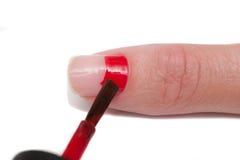 De macroclose-up van het manicureproces Stock Foto's