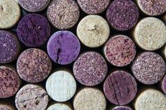 De macromening van gebruikte wijnfles kurkt royalty-vrije stock afbeelding