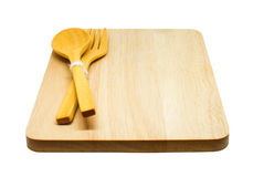 De madeira da colher, da forquilha e da bandeja Fotos de Stock