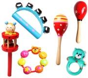 De madeira e plástico chocalha para crianças Imagens de Stock Royalty Free