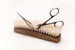 De madeira esfregue a escova é aparado por tesouras Foto de Stock