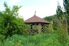 De madera abandonada bien con las paredes adornadas y el tejado rodeados con la vegetación overgrown Fotografía de archivo