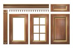 De madera con la puerta del oro, cajón, columna, cornisa para el armario de cocina aislado en blanco Foto de archivo libre de regalías
