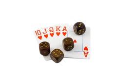 De madera corta en cuadritos con las tarjetas del póker de la escalera real Fotografía de archivo libre de regalías