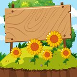 De madera firme adentro el jardín del girasol libre illustration