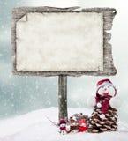 De madera vacíos firman adentro humor del invierno fotos de archivo