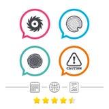 De madera y vio iconos circulares de la rueda atención libre illustration