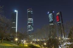 De Madrid Torres de la Castellana Stockbilder