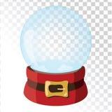 De magische bal van het Kerstmisglas met santahoed Transparant glasgebied met sneeuwvlokken Vector illustratie stock illustratie