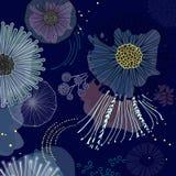 De magische bloesem van bloeibloemen op marineachtergrond Modern contrast abstract ontwerp voor document, dekking, stof, binnenla royalty-vrije illustratie