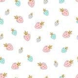 De magische getrokken kleurrijke aardbeien van het ontwerp naadloze patroon hand stock illustratie