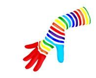 De magische handschoen van de regenboog Stock Foto