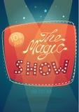 De magische van het showuithangbord illustratie als achtergrond Stock Foto