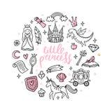 De magische voorwerpen van het manierbeeldverhaal Leuke sprookjeprinses, kasteel, draak, eenhoorn en andere elementen royalty-vrije illustratie