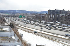 De magische Winter in Montreal Canada Stock Afbeelding