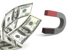 De magneet 3d illustratie van het geld Royalty-vrije Stock Fotografie