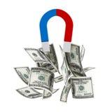 De magneet trekt geldstapel royalty-vrije illustratie