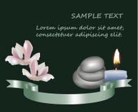 De magnolia bloeit theekaars en kiezelstenen en wellness van het zijdelint vector illustratie