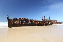 De Maheno-schipbreuk, Fraser Island, Queensland, Australië Royalty-vrije Stock Afbeeldingen