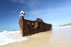 De Maheno-schipbreuk, Fraser Island, Queensland, Australië stock foto