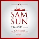 19 de maio, comemoração do cartão da celebração de Turquia do dia de Ataturk, de juventude e de esportes Imagens de Stock