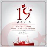19 de maio, comemoração do cartão da celebração de Turquia do dia de Ataturk, de juventude e de esportes ilustração stock