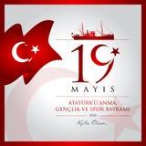 19 de maio, comemoração do cartão da celebração de Turquia do dia de Ataturk, de juventude e de esportes ilustração do vetor