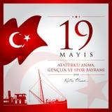 19 de maio, comemoração do cartão da celebração de Turquia do dia de Ataturk, de juventude e de esportes ilustração royalty free