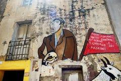 21 DE MAIO DE 2014 - ORGOSOLO: Pinturas de parede Imagem de Stock