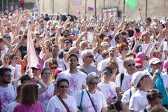 17 de maio de 2015 Raça para a cura, Roma Italy Raça contra o câncer da mama Imagens de Stock